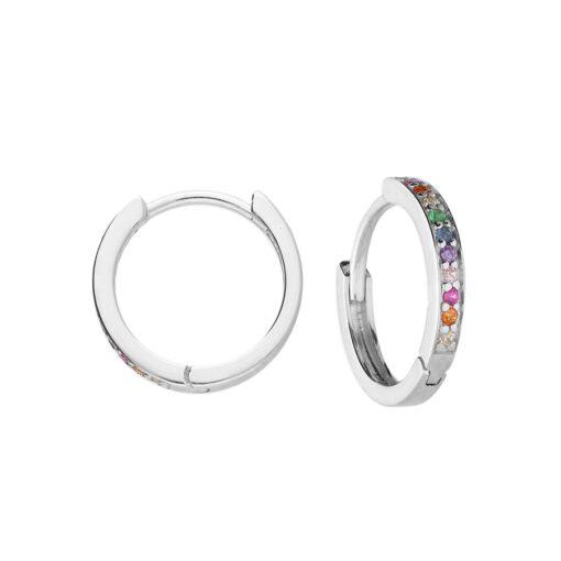 Rainbow CZ Mini Huggie Earrings
