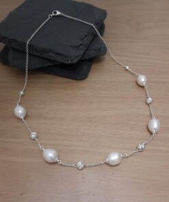 Spaced-Pearl-and-silver-necklace