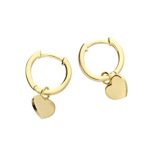 Heart Charm Huggie - Gold