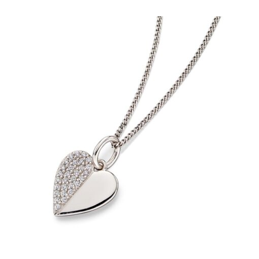 CZ Split Heart Pendant