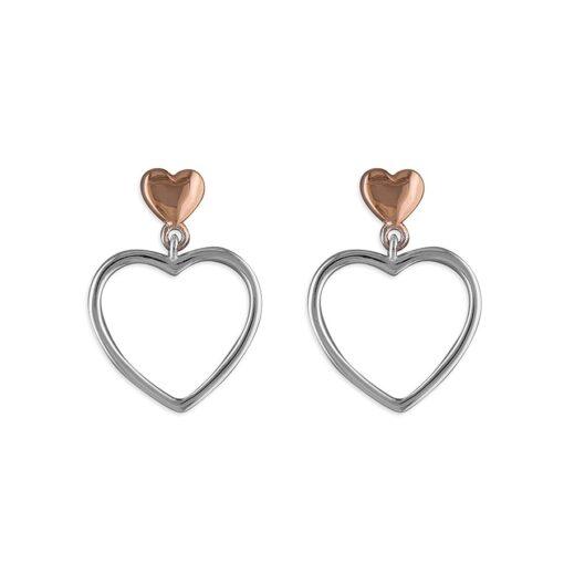 hanging double heart earrings