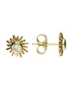CZ sunburst Stud Earrings - Gold