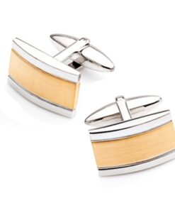 Stainless Steel Polished Brushed Rectangle Cufflinks Gold Stainless Steel Polished Brushed Rectangle Cufflinks Gold