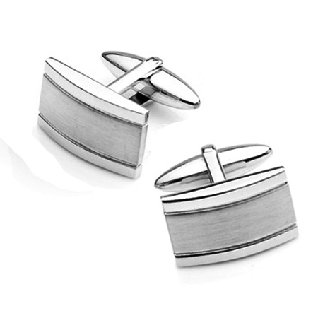 Stainless Steel Polished Brushed Rectangle Cufflinks Stainless Steel Polished Brushed Rectangle Cufflinks